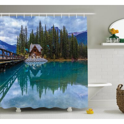 Banjo Lake Scenery Cottage Shower Curtain Size: 69 W x 75 L