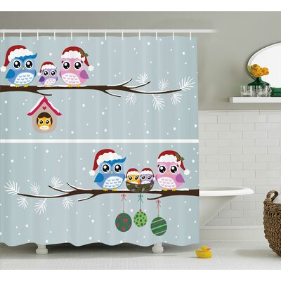 Stella Owls with Santa Hats Shower Curtain Size: 69 W x 84 L