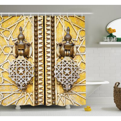 Retro African Morrocan Forms Shower Curtain Size: 69 W x 75 L