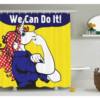 Unicorn Unicorn with Polka Dot Shower Curtain Size: 69 W x 70 L