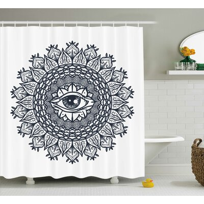 White Vintage Tribal Mandala Shower Curtain Size: 69 W x 75 L