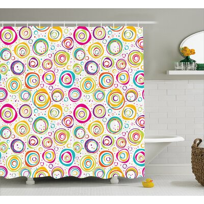 Judy Kids Spiral and Dots Shower Curtain Size: 69 W x 70 L