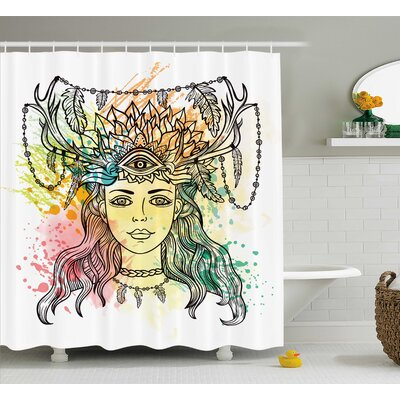 Fabric Female Shaman Feathers Shower Curtain Size: 69 W x 70 L