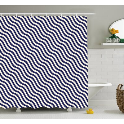 Carvell Wavy Stripes Dark Blue Shower Curtain Size: 69 W x 70 L
