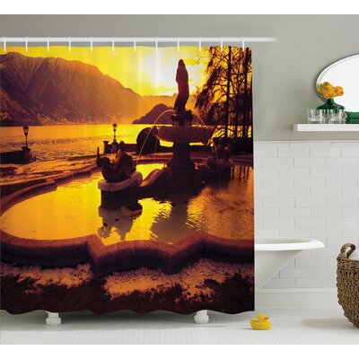 Italian Mediterranean Sunset Shower Curtain Size: 69 W x 84 L