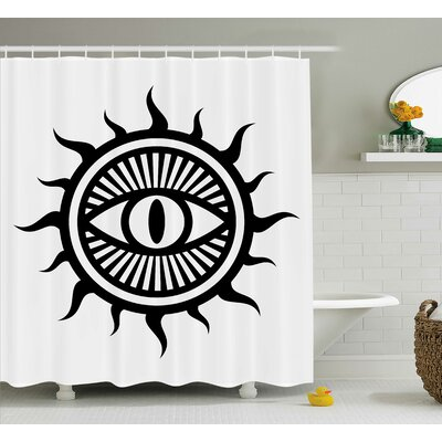 White Occult Eye in Sun Symbol Shower Curtain Size: 69 W x 75 L