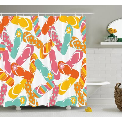 Roxane Summer Holiday Sandals Shower Curtain Size: 69 W x 75 L