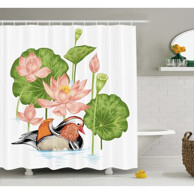 Angelo Mandarin in Pond Lilies Shower Curtain Size: 69 W x 70 L