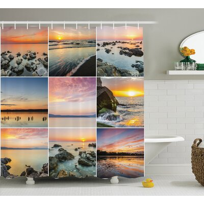 Nautical Ocean at Sea Sunset Shower Curtain Size: 69 W x 75 L
