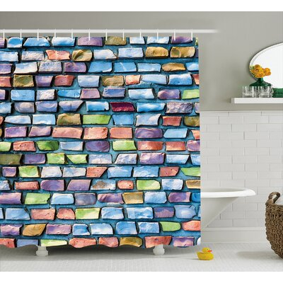 Berge Colored Mosaic Walls Shower Curtain Size: 69