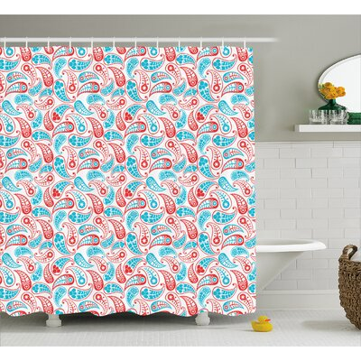 Hakeem Indian Leaves and Star Shower Curtain Size: 69 W x 84 L