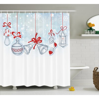 Christmas Retro Decorations Shower Curtain Size: 69 W x 84 L