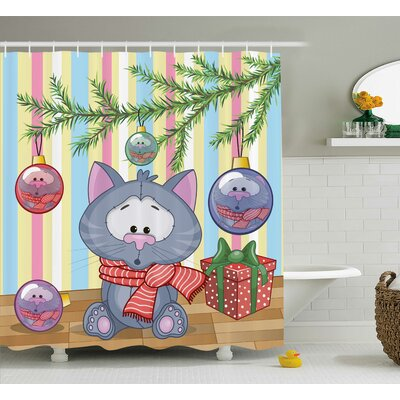 Christmas Kitten Gift and Tree Shower Curtain Size: 69 W x 70 L