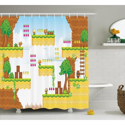 Beeler Games Cartoon Retro Kids Shower Curtain Size: 69 W x 84 L