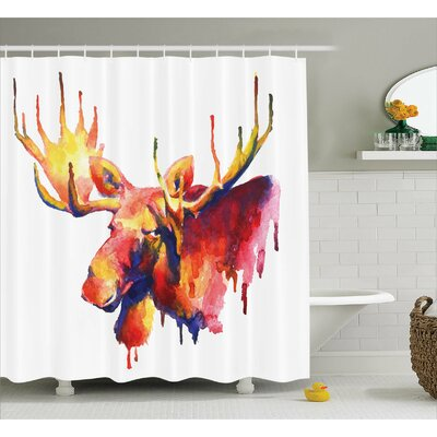 Auburn Psychedelic Watercolors Shower Curtain Size: 69 W x 75 L