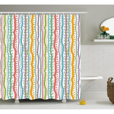 Santos Vertical Swirl Lines Shower Curtain Size: 69 W x 70 L