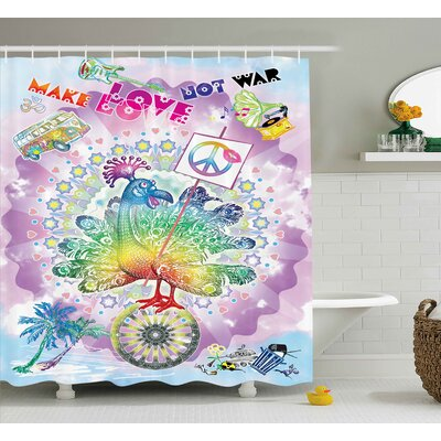 Hippie Flower Cildren Quote Print Shower Curtain Size: 69 W x 70 L
