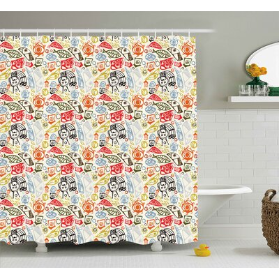 Anya Abstract Colorful Image Shower Curtain Size: 69 W x 84 L