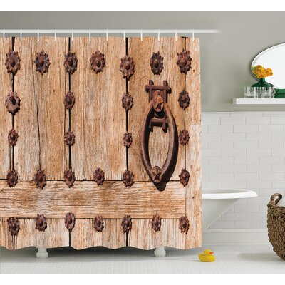 Asuka Rusty Spanish Entrance Shower Curtain Size: 69 W x 84 L