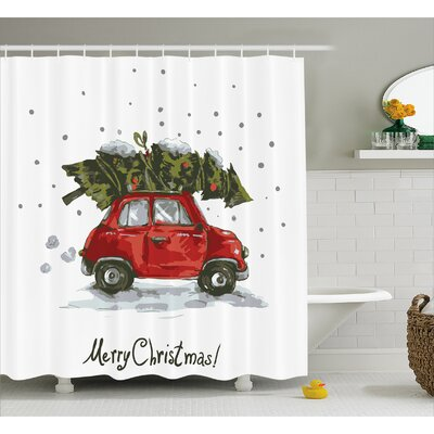 Christmas Retro Car with Tree Shower Curtain Size: 69 W x 75 L