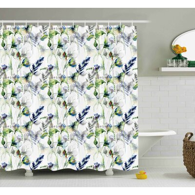 Remmie Spring Flowers Pattern Shower Curtain Size: 69 W x 75 L