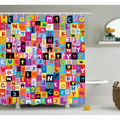 Luther Colored Alphabet Puzzle Shower Curtain Size: 69 W x 75 L