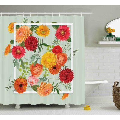 Burkitt Elegance Floral Flower Leaf Shower Curtain Size: 69 W x 75 L