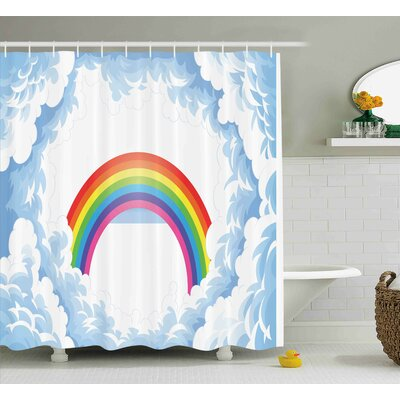 Madeline Rainbow Fluffy Clouds Shower Curtain Size: 69 W x 70 L