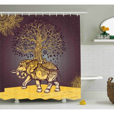 Azariah Asian Elephant in Nature Shower Curtain Size: 69 W x 70 L