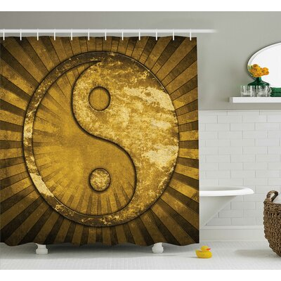 Beecher Yang Decor Grunge Gold Shower Curtain Size: 69 W x 75 L