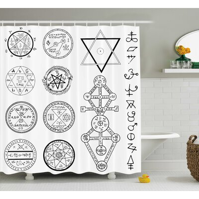 White Collage of Magic Symbols Shower Curtain Size: 69 W x 75 L