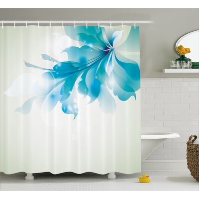 Celestiel Blue Ombre Flowers Shower Curtain Size: 69 W x 70 L