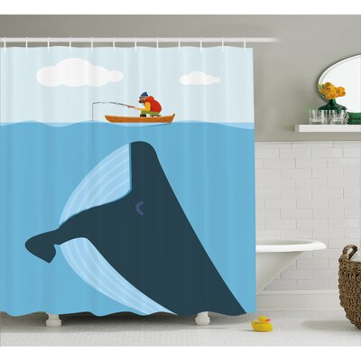 Turner Sun Ship Cartoon Decor Shower Curtain Size: 69 W x 84 L