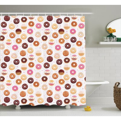 Alethia Colorful Yummy Donuts Shower Curtain Size: 69 W x 84 L
