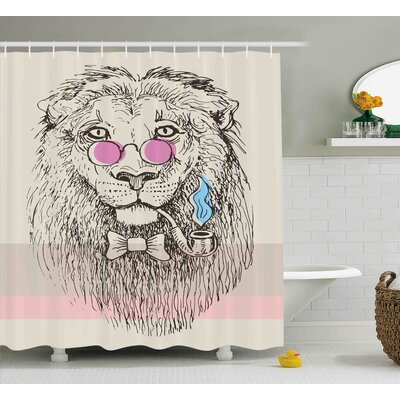 Animal Lion Head Hipster Style Shower Curtain Size: 69 W x 70 L