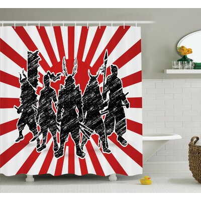 Japanese Samurai Ninja Retro Shower Curtain Size: 69 W x 75 L