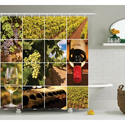 Megan Red Vineyard Landscapes Shower Curtain Size: 69 W x 84 L