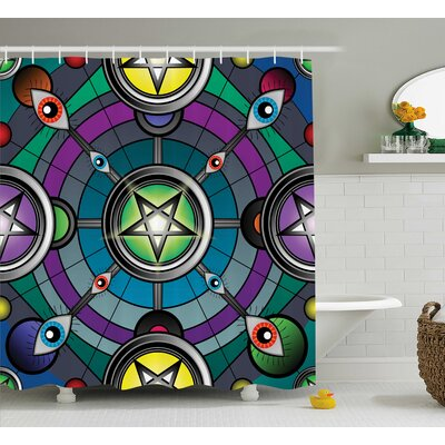 Shelby Pentagram Evil Eyes Shower Curtain Size: 69 W x 84 L