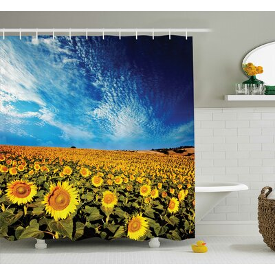 Faye Sunflower Garden Nature Shower Curtain Size: 69 W x 70 L