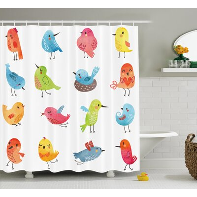 Lottie Colorful Cute Humor Bird Shower Curtain Size: 69 W x 70 L