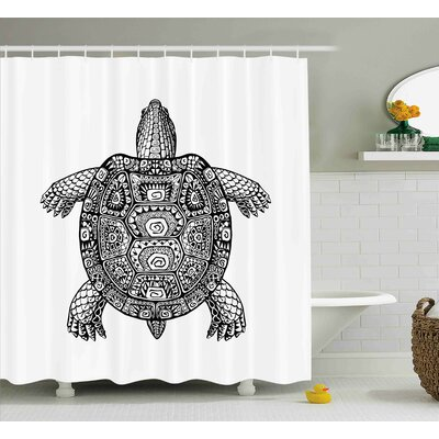 Aubrey Tribal Art on Tortoise Shower Curtain Size: 69 W x 70 L