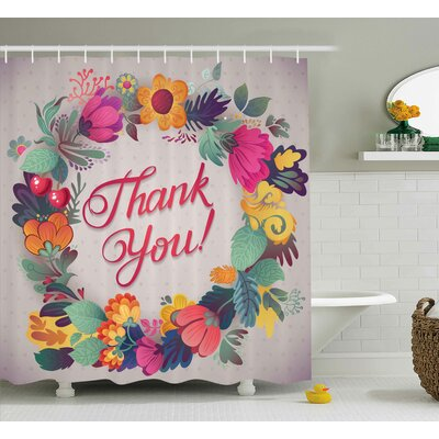 Graves Thank You Decor Ceramic Shower Curtain Size: 69 W x 75 L