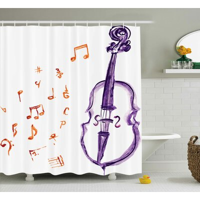 Ashworth Musical Note Black Theme Shower Curtain Size: 69 W x 75 L