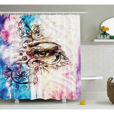 Fabric Woman Eye Grungy Retro Shower Curtain Size: 69 W x 70 L