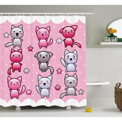 Anime Decor Funny Japanese Shower Curtain Size: 69 W x 75 L