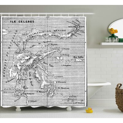 Vintage French Map Island Gray Shower Curtain Size: 69 W x 84 L