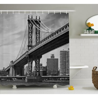 Benton Bridge in New York City Shower Curtain Size: 69 W x 75 L