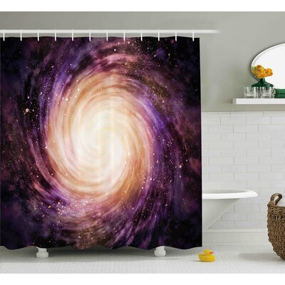 Galaxy Alluring Space Hole Shower Curtain Size: 69 W x 84 L