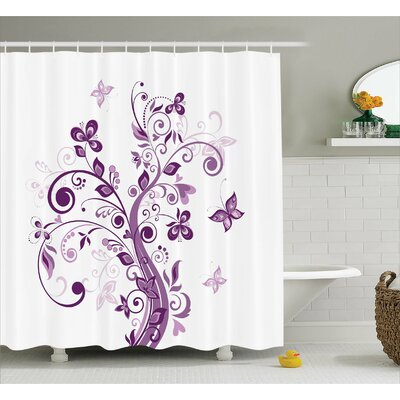 Judah Flowers Leaf Butterlies Shower Curtain Size: 69 W x 75 L