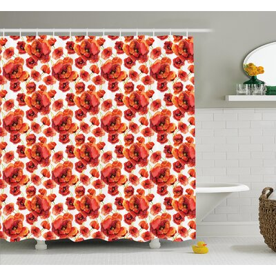 Burnes Red Poppy Flowers Artsy Shower Curtain Size: 69 W x 75 L